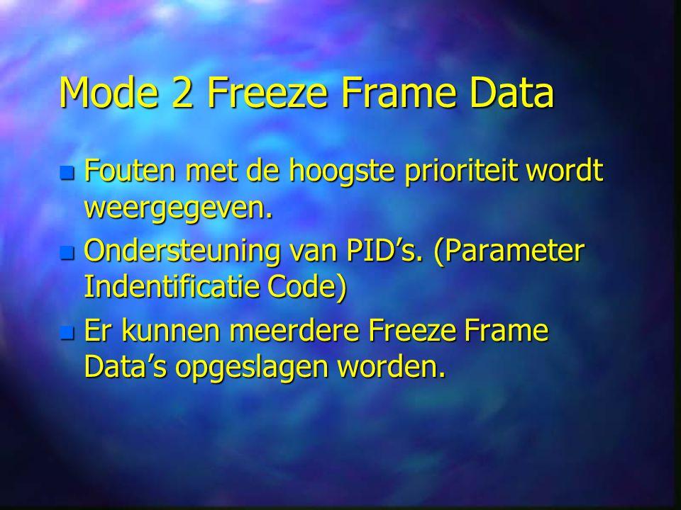 Mode 2 Freeze Frame Data n Fouten met de hoogste prioriteit wordt weergegeven.