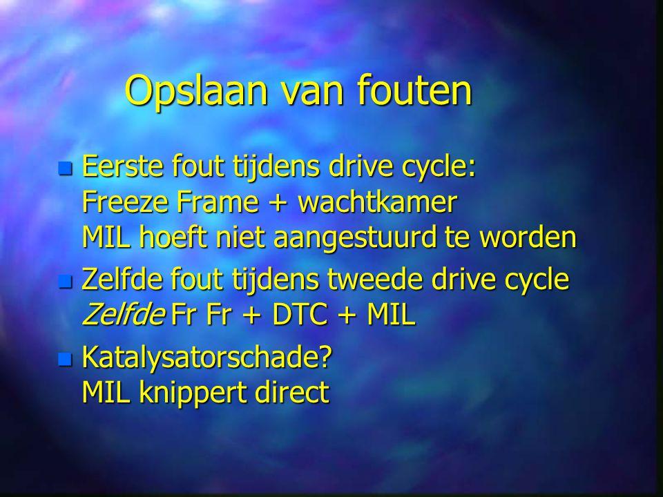 Opslaan van fouten n Eerste fout tijdens drive cycle: Freeze Frame + wachtkamer MIL hoeft niet aangestuurd te worden n Zelfde fout tijdens tweede drive cycle Zelfde Fr Fr + DTC + MIL n Katalysatorschade.
