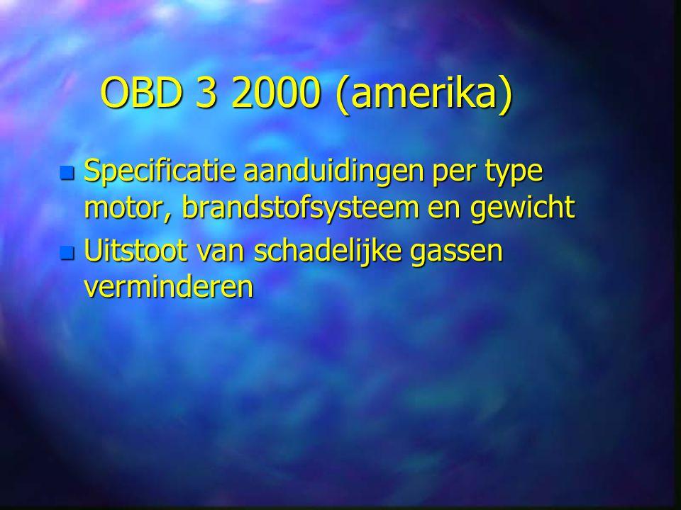 OBD 3 2000 (amerika) n Specificatie n Specificatie aanduidingen per type motor, brandstofsysteem en gewicht n Uitstoot n Uitstoot van schadelijke gassen verminderen