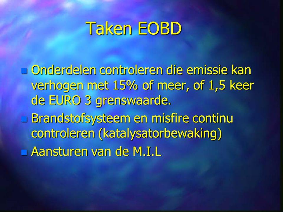 Taken EOBD n Onderdelen controleren die emissie kan verhogen met 15% of meer, of 1,5 keer de EURO 3 grenswaarde.