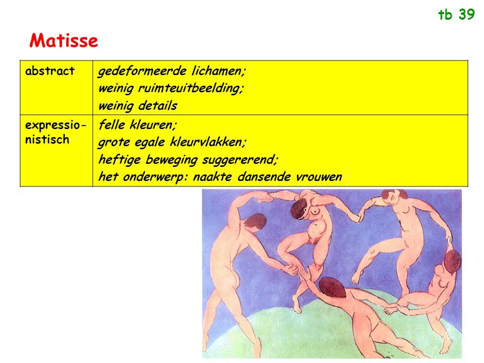 Matisse abstractgedeformeerde lichamen; weinig ruimteuitbeelding; weinig details expressio- nistisch felle kleuren; grote egale kleurvlakken; heftige