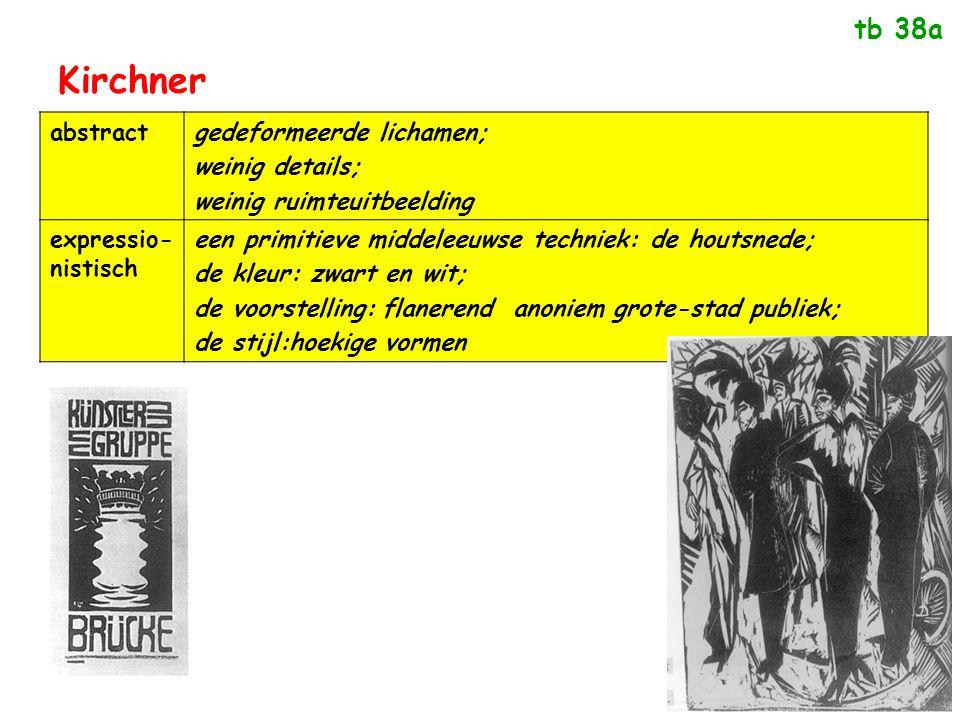 Kirchner abstractgedeformeerde lichamen; weinig details; weinig ruimteuitbeelding expressio- nistisch een primitieve middeleeuwse techniek: de houtsne