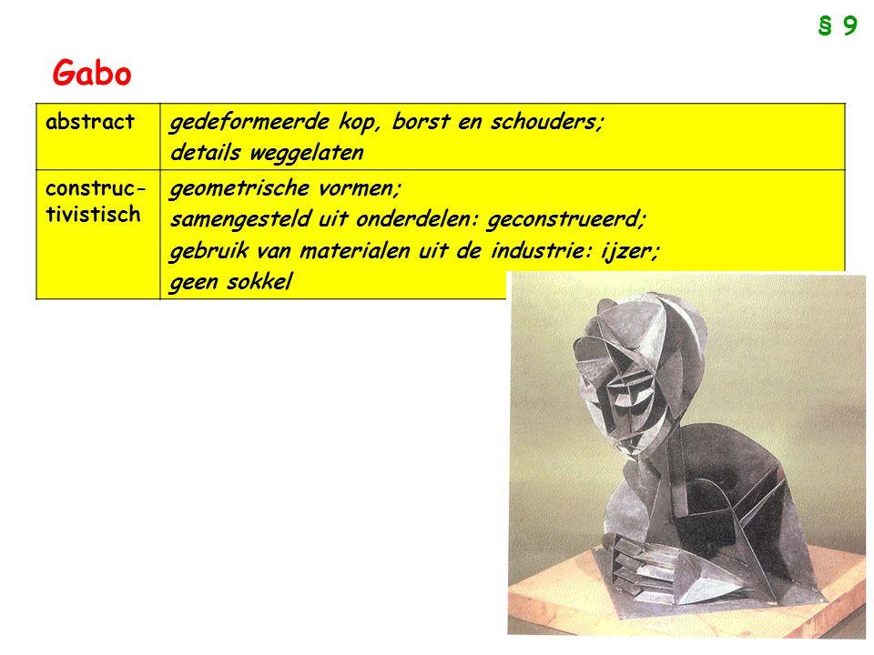 Gabo abstractgedeformeerde kop, borst en schouders; details weggelaten construc- tivistisch geometrische vormen; samengesteld uit onderdelen: geconstr
