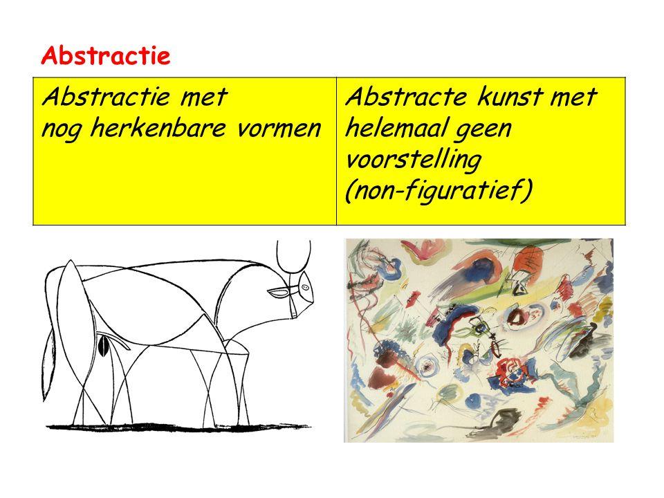 Abstractie Abstractie met nog herkenbare vormen Abstracte kunst met helemaal geen voorstelling (non-figuratief)