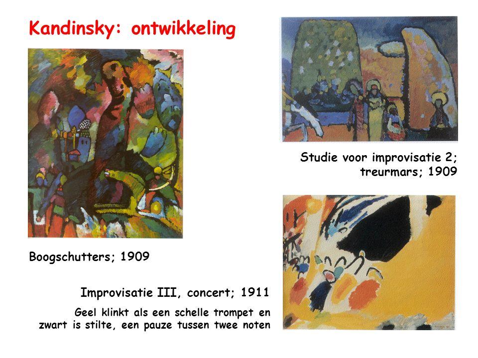 Kandinsky & Schönberg schilder componist Kunst behoort tot het onbewuste Kunst behoort tot het instinctieve gebied  directe uitdrukking van emoties Expressionisme: weinig aandacht voor geldende regels (zelfs Breken met regels) Muziek en schilderkunst zijn natuurlijke bondgenoten Invloed van de wetenschap: trillingen van geluid (muziek) trillingen van licht (kleur/schilderkunst)