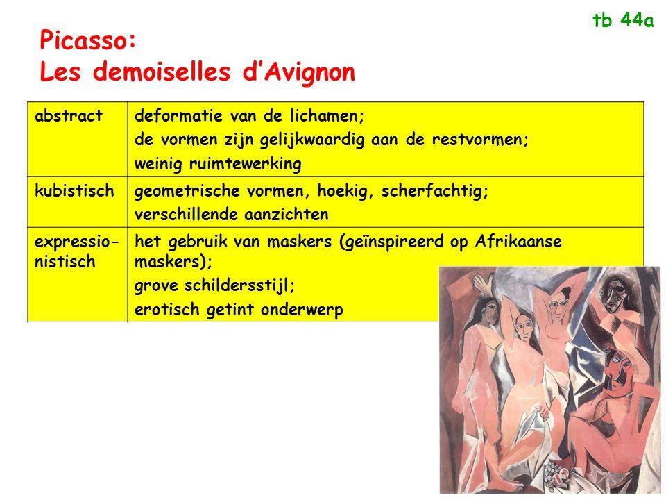 Picasso: Les demoiselles d'Avignon abstractdeformatie van de lichamen; de vormen zijn gelijkwaardig aan de restvormen; weinig ruimtewerking kubistisch