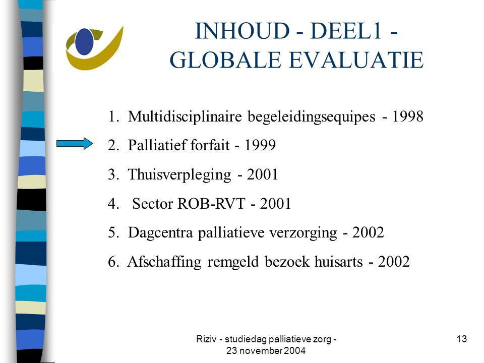 Riziv - studiedag palliatieve zorg - 23 november 2004 13 INHOUD - DEEL1 - GLOBALE EVALUATIE 1.