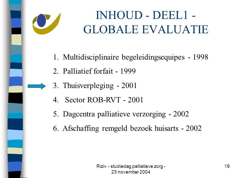 Riziv - studiedag palliatieve zorg - 23 november 2004 19 INHOUD - DEEL1 - GLOBALE EVALUATIE 1.
