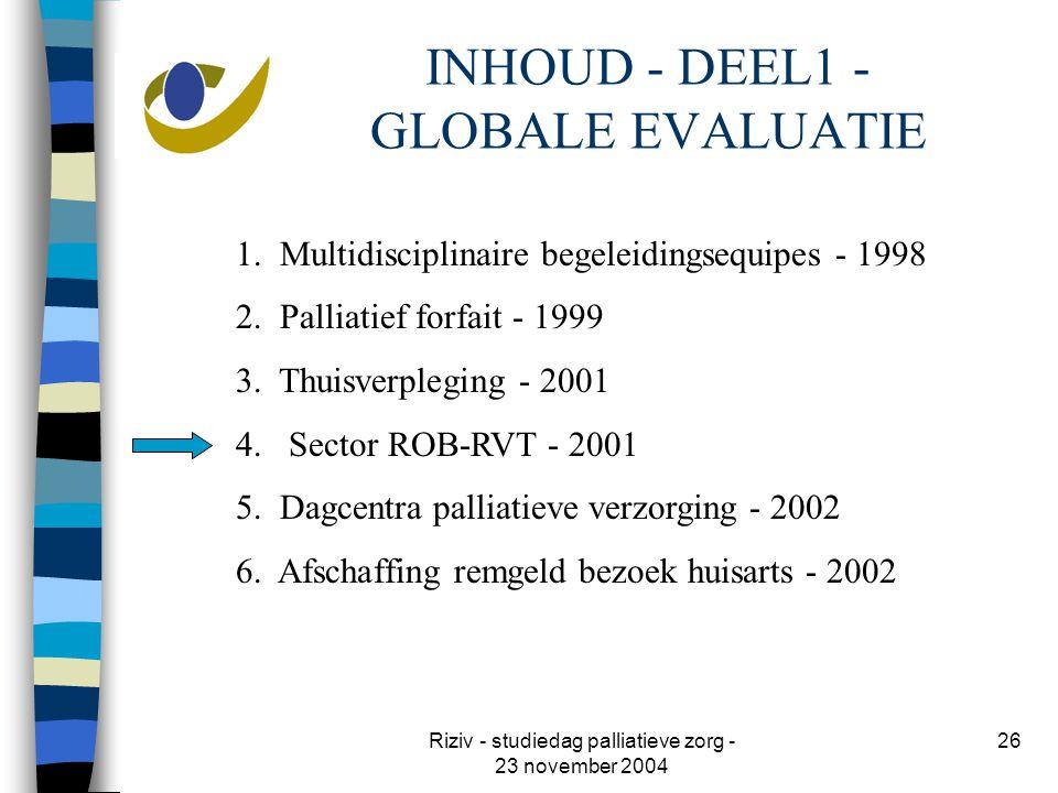 Riziv - studiedag palliatieve zorg - 23 november 2004 26 INHOUD - DEEL1 - GLOBALE EVALUATIE 1.