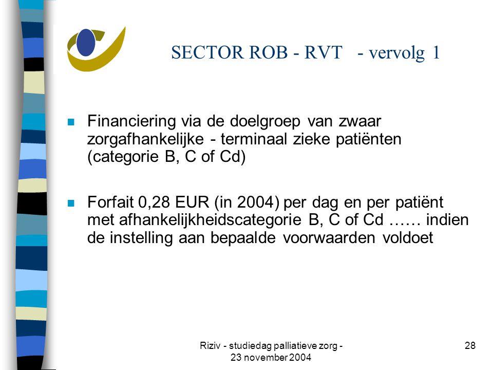 Riziv - studiedag palliatieve zorg - 23 november 2004 28 SECTOR ROB - RVT - vervolg 1 n Financiering via de doelgroep van zwaar zorgafhankelijke - terminaal zieke patiënten (categorie B, C of Cd) n Forfait 0,28 EUR (in 2004) per dag en per patiënt met afhankelijkheidscategorie B, C of Cd …… indien de instelling aan bepaalde voorwaarden voldoet