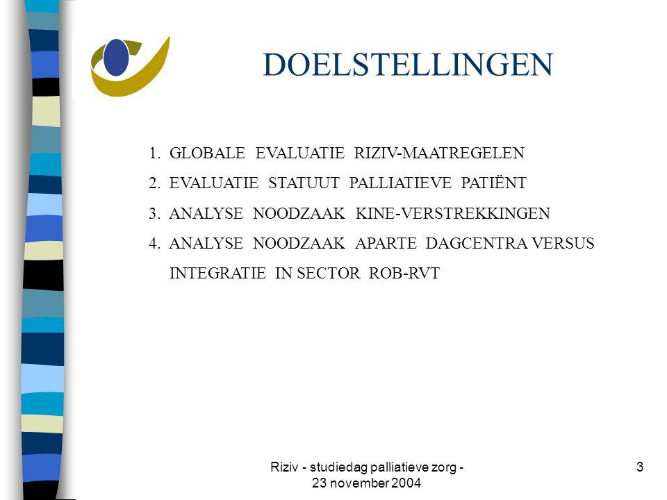 Riziv - studiedag palliatieve zorg - 23 november 2004 3 DOELSTELLINGEN 1.