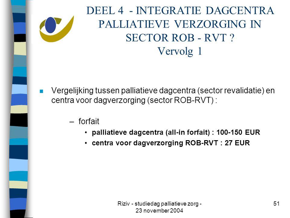 Riziv - studiedag palliatieve zorg - 23 november 2004 51 DEEL 4 - INTEGRATIE DAGCENTRA PALLIATIEVE VERZORGING IN SECTOR ROB - RVT .