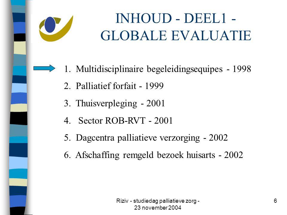 Riziv - studiedag palliatieve zorg - 23 november 2004 6 INHOUD - DEEL1 - GLOBALE EVALUATIE 1.