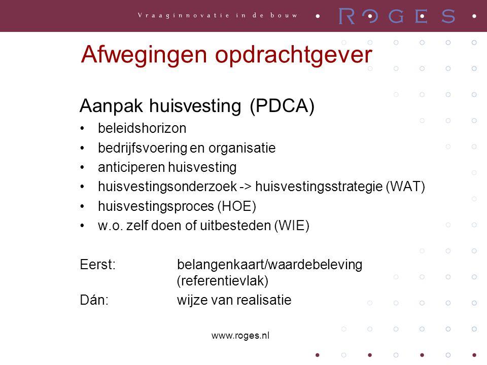 Aanpak huisvesting (PDCA) beleidshorizon bedrijfsvoering en organisatie anticiperen huisvesting huisvestingsonderzoek -> huisvestingsstrategie (WAT) huisvestingsproces (HOE) w.o.
