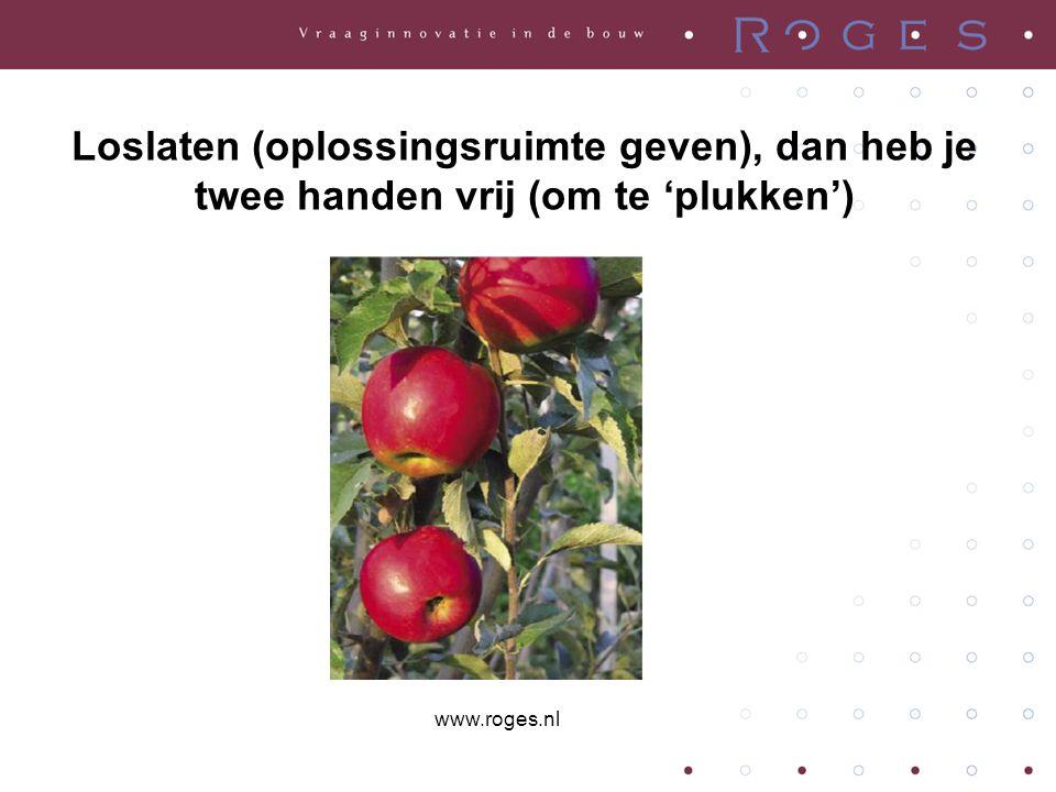 Loslaten (oplossingsruimte geven), dan heb je twee handen vrij (om te 'plukken') www.roges.nl