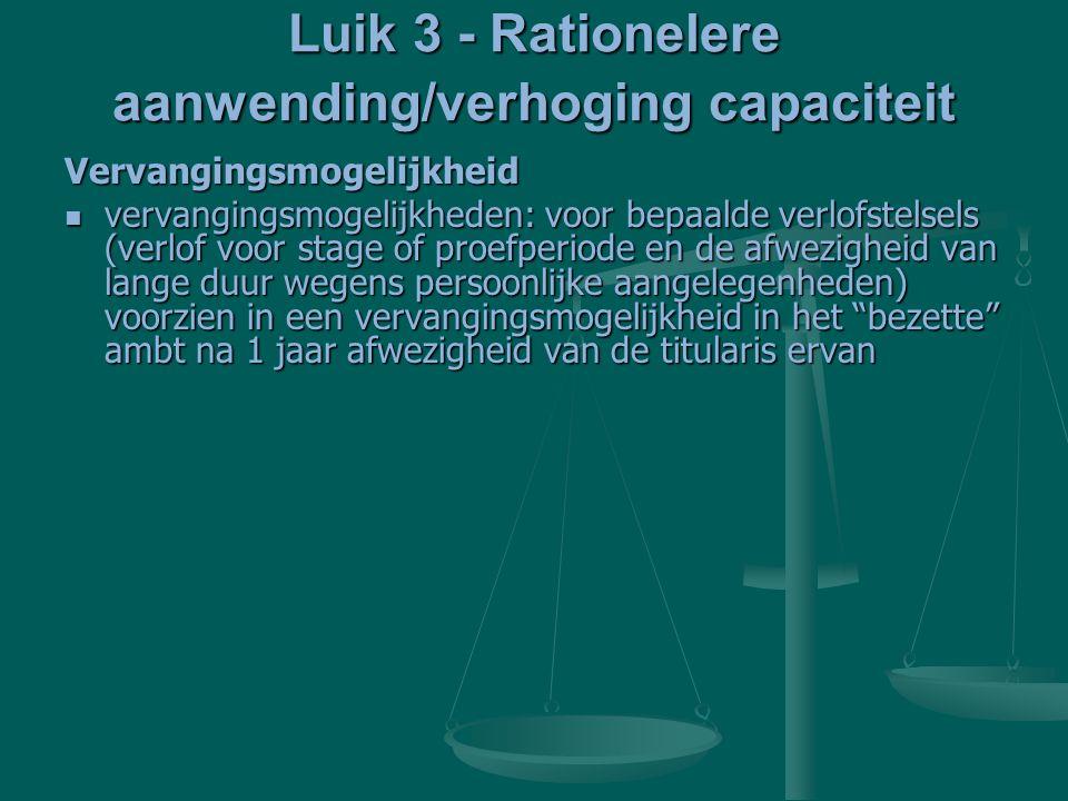 Luik 3 - Rationelere aanwending/verhoging capaciteit Vervangingsmogelijkheid vervangingsmogelijkheden: voor bepaalde verlofstelsels (verlof voor stage of proefperiode en de afwezigheid van lange duur wegens persoonlijke aangelegenheden) voorzien in een vervangingsmogelijkheid in het bezette ambt na 1 jaar afwezigheid van de titularis ervan vervangingsmogelijkheden: voor bepaalde verlofstelsels (verlof voor stage of proefperiode en de afwezigheid van lange duur wegens persoonlijke aangelegenheden) voorzien in een vervangingsmogelijkheid in het bezette ambt na 1 jaar afwezigheid van de titularis ervan