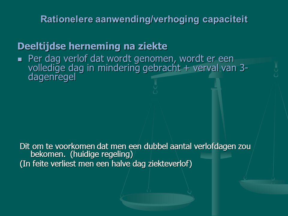 Rationelere aanwending/verhoging capaciteit Deeltijdse herneming na ziekte Per dag verlof dat wordt genomen, wordt er een volledige dag in mindering g