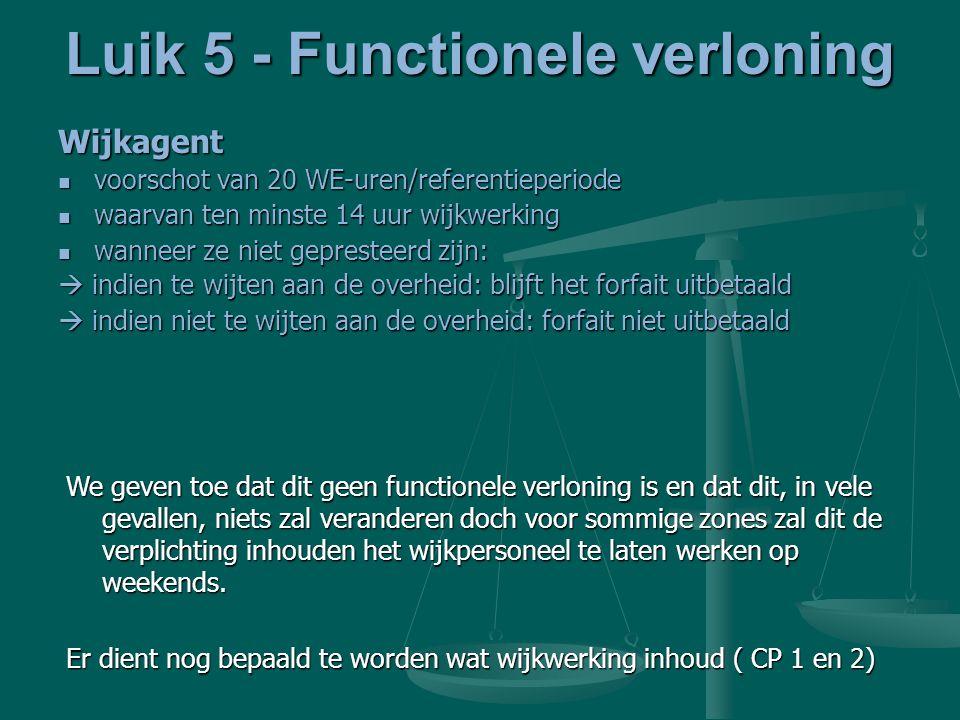 Luik 5 - Functionele verloning Wijkagent voorschot van 20 WE-uren/referentieperiode voorschot van 20 WE-uren/referentieperiode waarvan ten minste 14 u