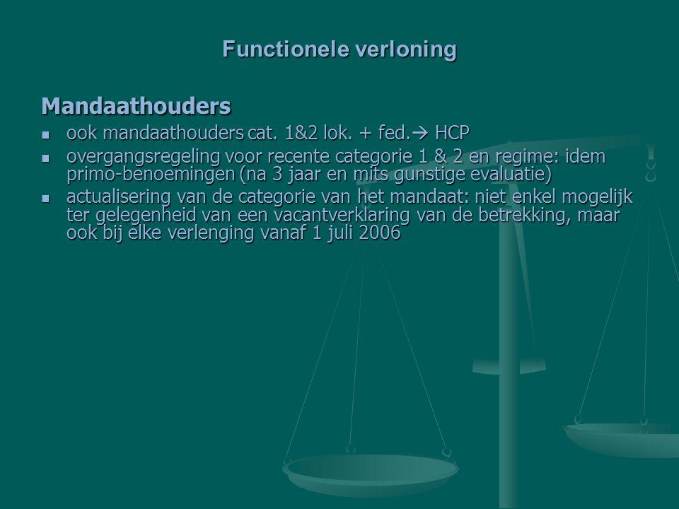 Mandaathouders ook mandaathouders cat. 1&2 lok. + fed.  HCP ook mandaathouders cat. 1&2 lok. + fed.  HCP overgangsregeling voor recente categorie 1