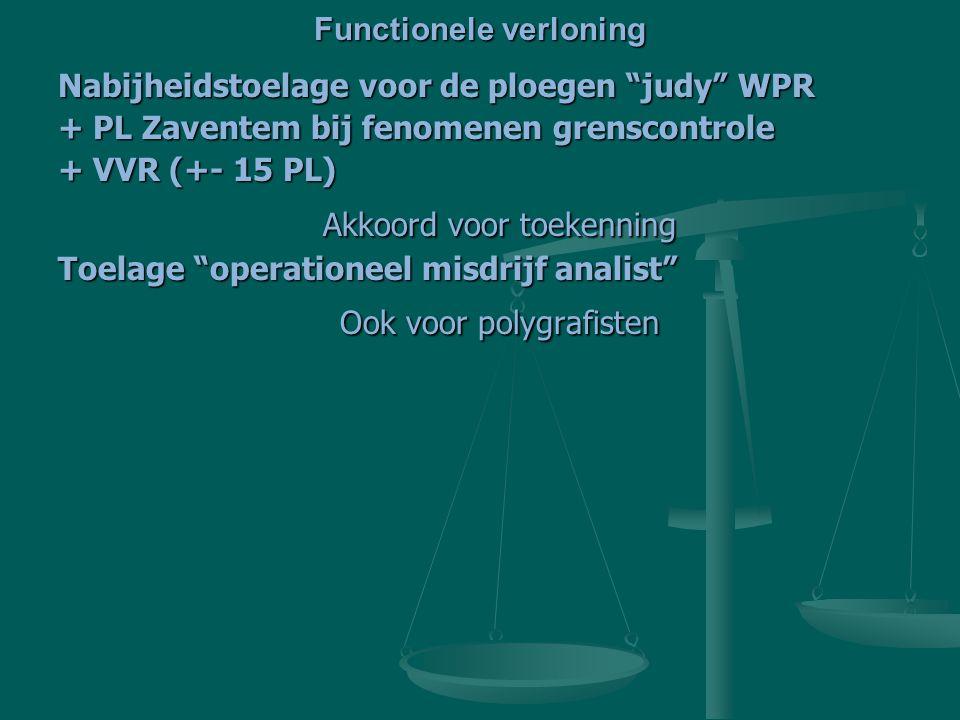 Nabijheidstoelage voor de ploegen judy WPR + PL Zaventem bij fenomenen grenscontrole + VVR (+- 15 PL) Akkoord voor toekenning Akkoord voor toekenning Toelage operationeel misdrijf analist Ook voor polygrafisten Ook voor polygrafisten Functionele verloning