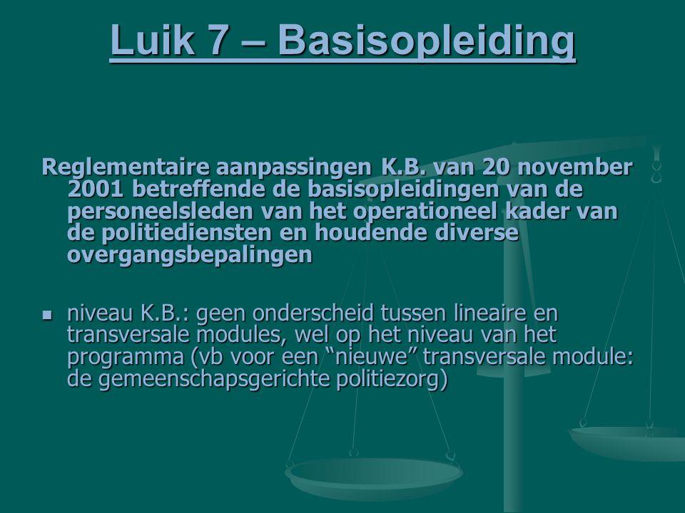 Luik 7 – Basisopleiding Reglementaire aanpassingen K.B. van 20 november 2001 betreffende de basisopleidingen van de personeelsleden van het operatione