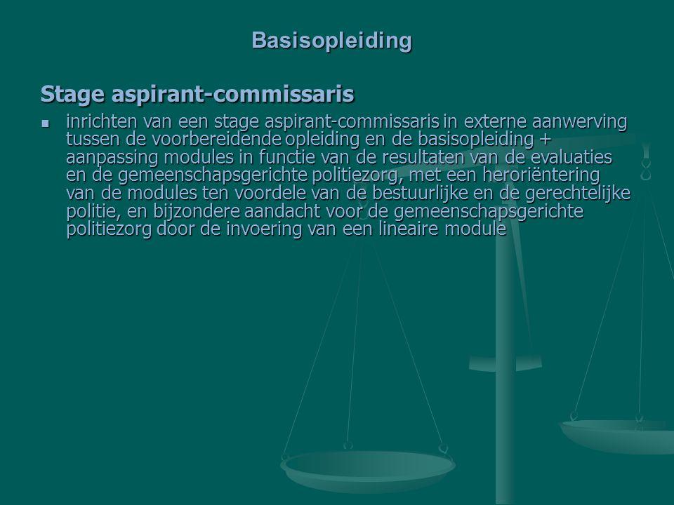 Stage aspirant-commissaris inrichten van een stage aspirant-commissaris in externe aanwerving tussen de voorbereidende opleiding en de basisopleiding