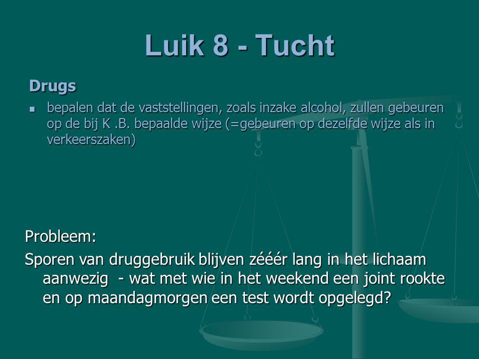 Luik 8 - Tucht Drugs bepalen dat de vaststellingen, zoals inzake alcohol, zullen gebeuren op de bij K.B. bepaalde wijze (=gebeuren op dezelfde wijze a