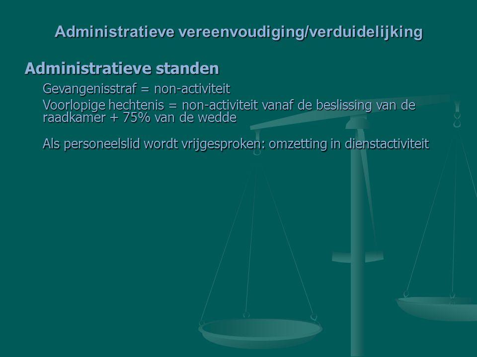 Administratieve standen Gevangenisstraf = non-activiteit Voorlopige hechtenis = non-activiteit vanaf de beslissing van de raadkamer + 75% van de wedde Als personeelslid wordt vrijgesproken: omzetting in dienstactiviteit Administratieve vereenvoudiging/verduidelijking