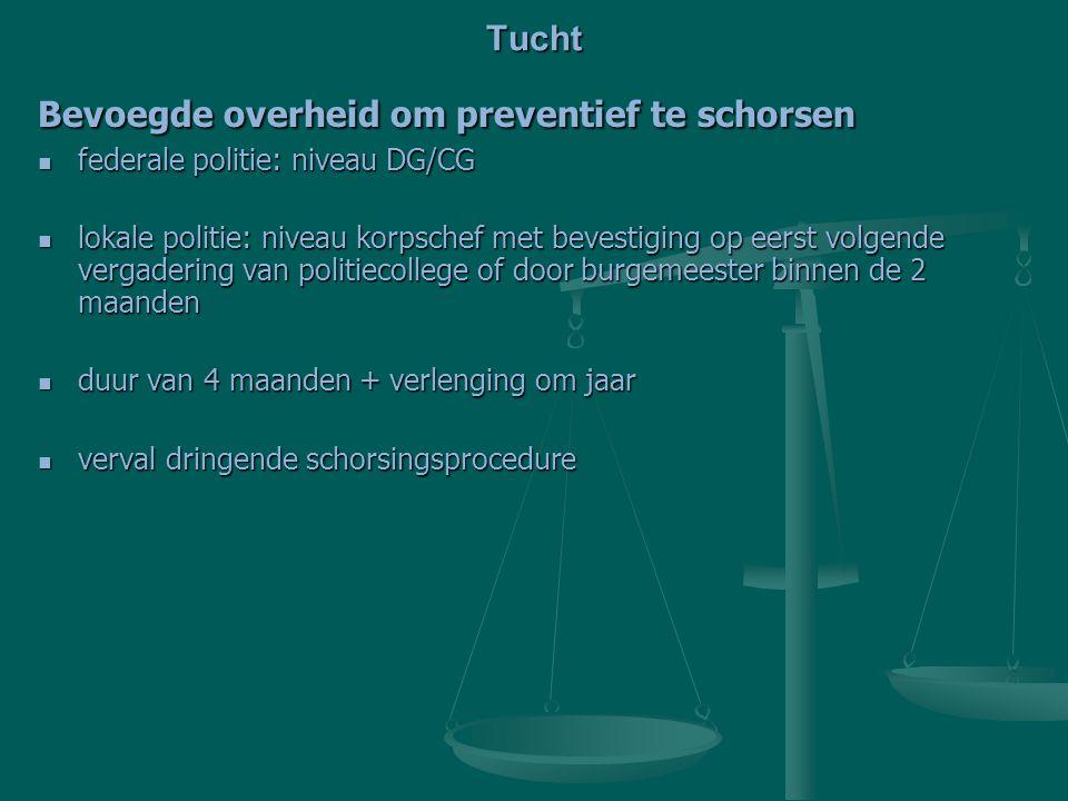 Bevoegde overheid om preventief te schorsen federale politie: niveau DG/CG federale politie: niveau DG/CG lokale politie: niveau korpschef met bevesti