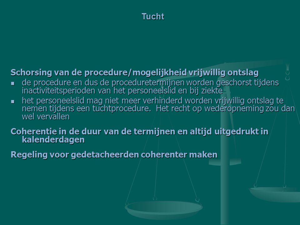 Schorsing van de procedure/mogelijkheid vrijwillig ontslag de procedure en dus de proceduretermijnen worden geschorst tijdens inactiviteitsperioden va