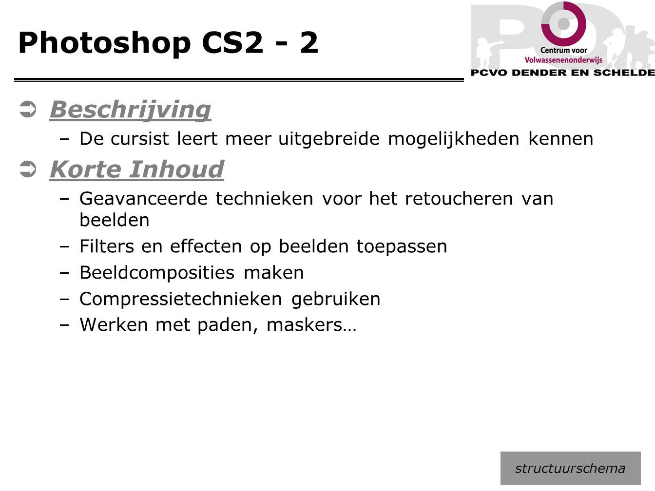 Photoshop CS2 - 2  Beschrijving –De cursist leert meer uitgebreide mogelijkheden kennen  Korte Inhoud –Geavanceerde technieken voor het retoucheren