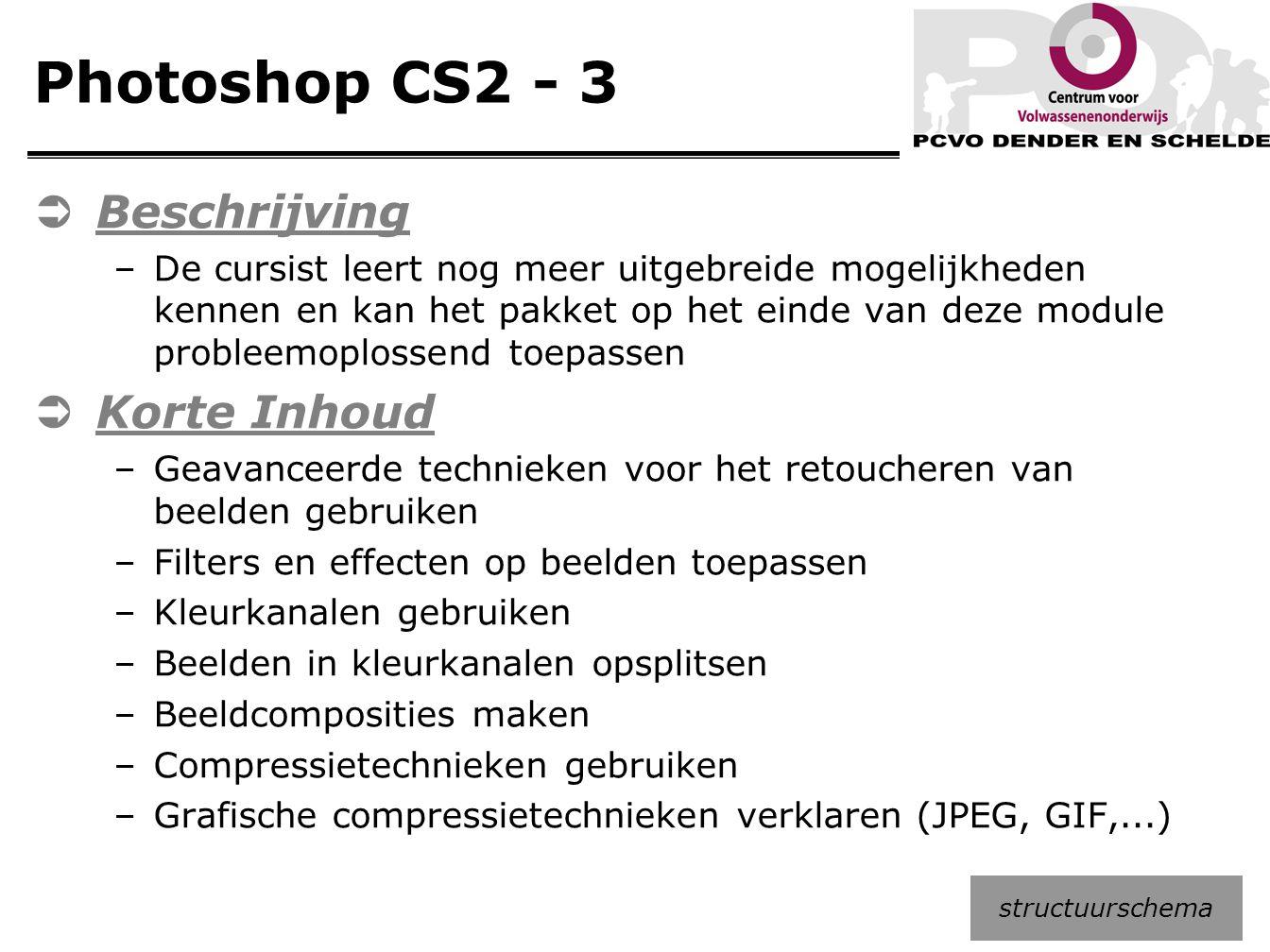 Photoshop CS2 - 3  Beschrijving –De cursist leert nog meer uitgebreide mogelijkheden kennen en kan het pakket op het einde van deze module probleemop