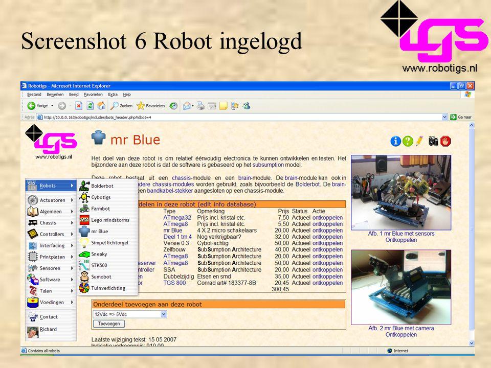 Screenshot 6 Robot ingelogd