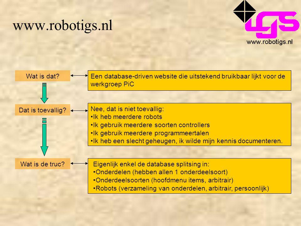 www.robotigs.nl Wat is dat?Een database-driven website die uitstekend bruikbaar lijkt voor de werkgroep PiC Dat is toevallig? Nee, dat is niet toevall