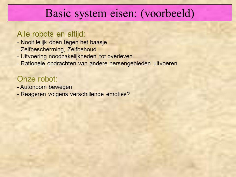 Alle robots en altijd: - Nooit lelijk doen tegen het baasje - Zelfbescherming, Zelfbehoud - Uitvoering noodzakelijkheden tot overleven - Rationele opd