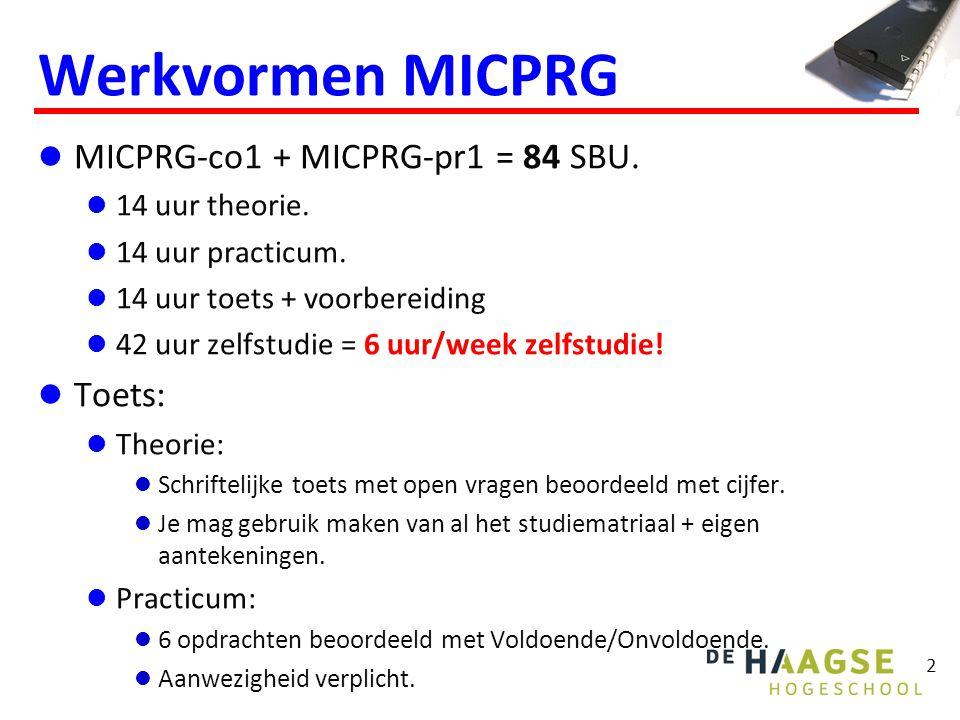 Werkvormen MICPRG MICPRG-co1 + MICPRG-pr1 = 84 SBU.