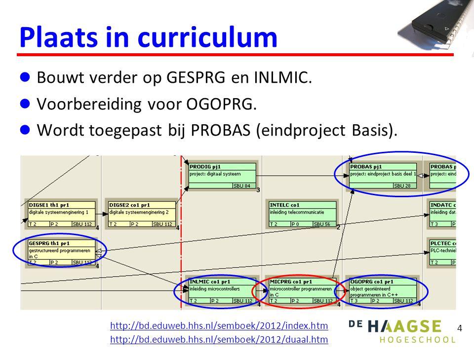 4 Plaats in curriculum Bouwt verder op GESPRG en INLMIC.