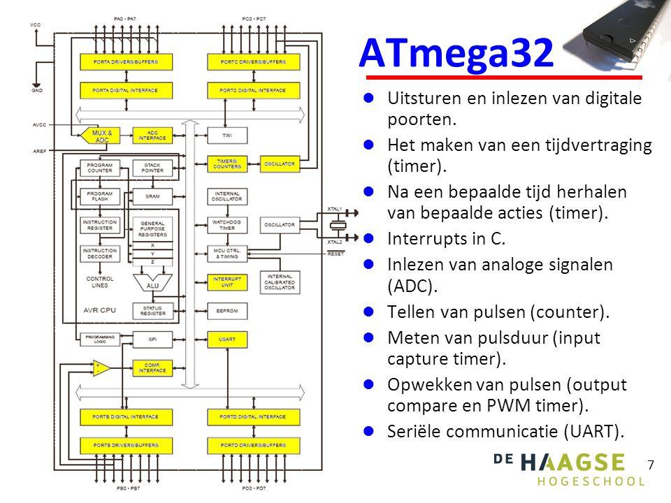 7 ATmega32 Uitsturen en inlezen van digitale poorten.