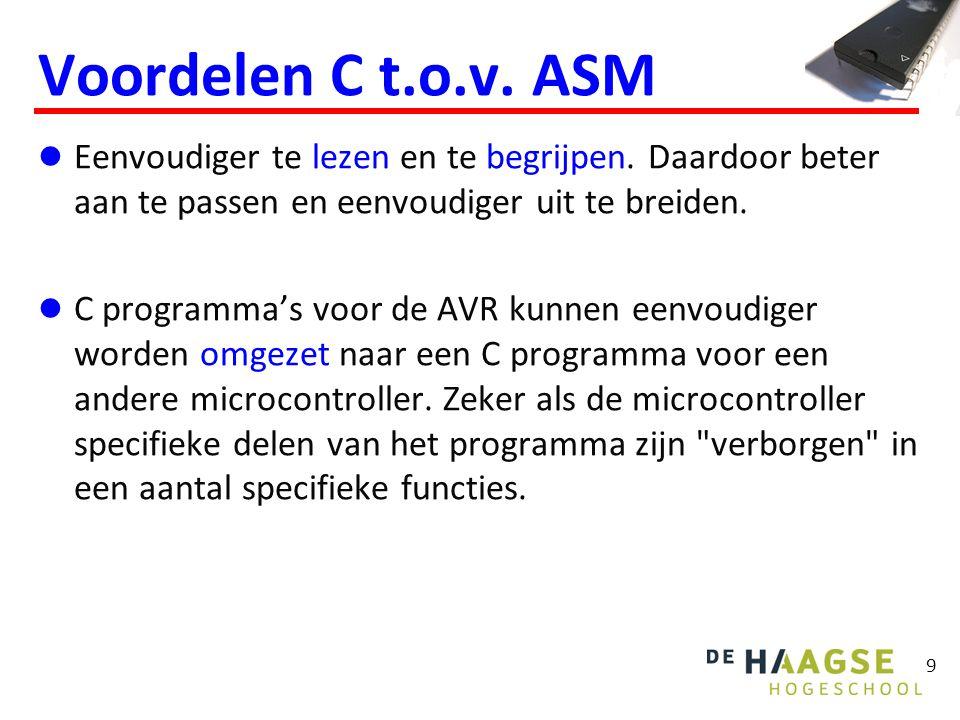 9 Voordelen C t.o.v.ASM Eenvoudiger te lezen en te begrijpen.