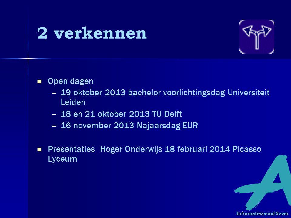 2 verkennen Open dagen – –19 oktober 2013 bachelor voorlichtingsdag Universiteit Leiden – –18 en 21 oktober 2013 TU Delft – –16 november 2013 Najaarsdag EUR Presentaties Hoger Onderwijs 18 februari 2014 Picasso Lyceum Informatieavond 6vwo