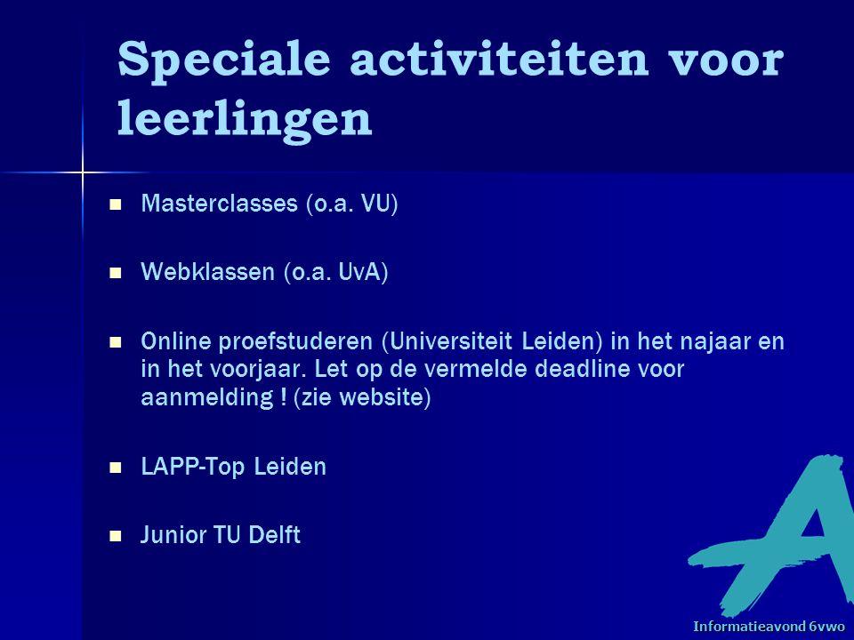 Speciale activiteiten voor leerlingen Masterclasses (o.a.