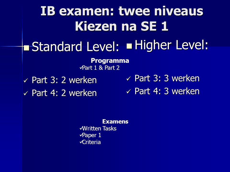 IB examen: twee niveaus Kiezen na SE 1 Standard Level: Standard Level: Part 3: 2 werken Part 3: 2 werken Part 4: 2 werken Part 4: 2 werken Higher Level: Higher Level: Part 3: 3 werken Part 3: 3 werken Part 4: 3 werken Part 4: 3 werken Examens Written Tasks Paper 1 Criteria Programma Part 1 & Part 2