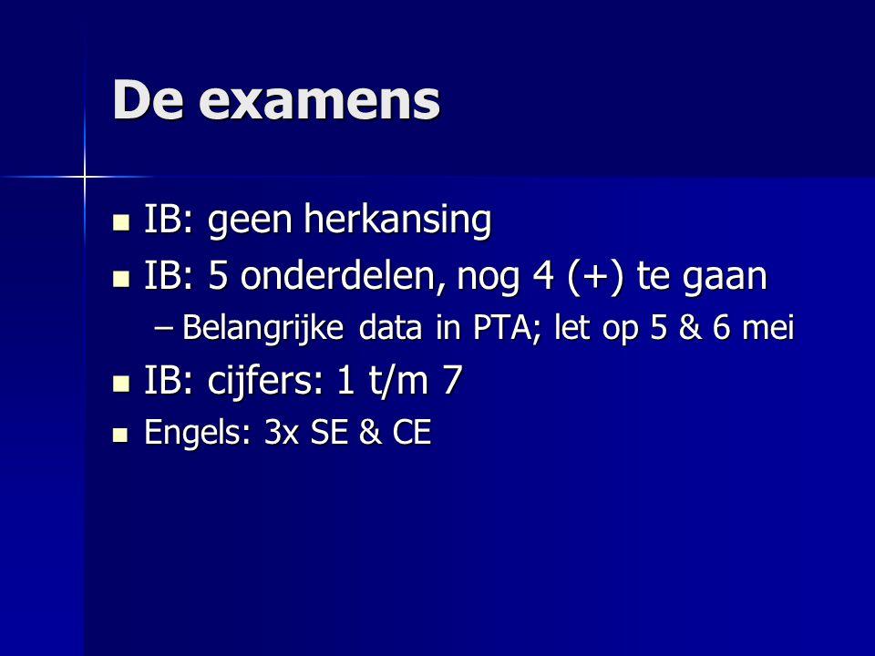 De examens IB: geen herkansing IB: geen herkansing IB: 5 onderdelen, nog 4 (+) te gaan IB: 5 onderdelen, nog 4 (+) te gaan –Belangrijke data in PTA; let op 5 & 6 mei IB: cijfers: 1 t/m 7 IB: cijfers: 1 t/m 7 Engels: 3x SE & CE Engels: 3x SE & CE
