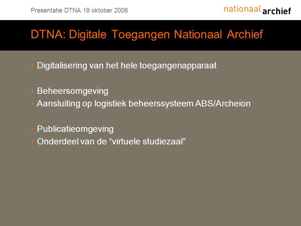 Presentatie DTNA 19 oktober 2006 DTNA: Digitale Toegangen Nationaal Archief Digitalisering van het hele toegangenapparaat Beheersomgeving Aansluiting op logistiek beheerssysteem ABS/Archeion Publicatieomgeving Onderdeel van de virtuele studiezaal