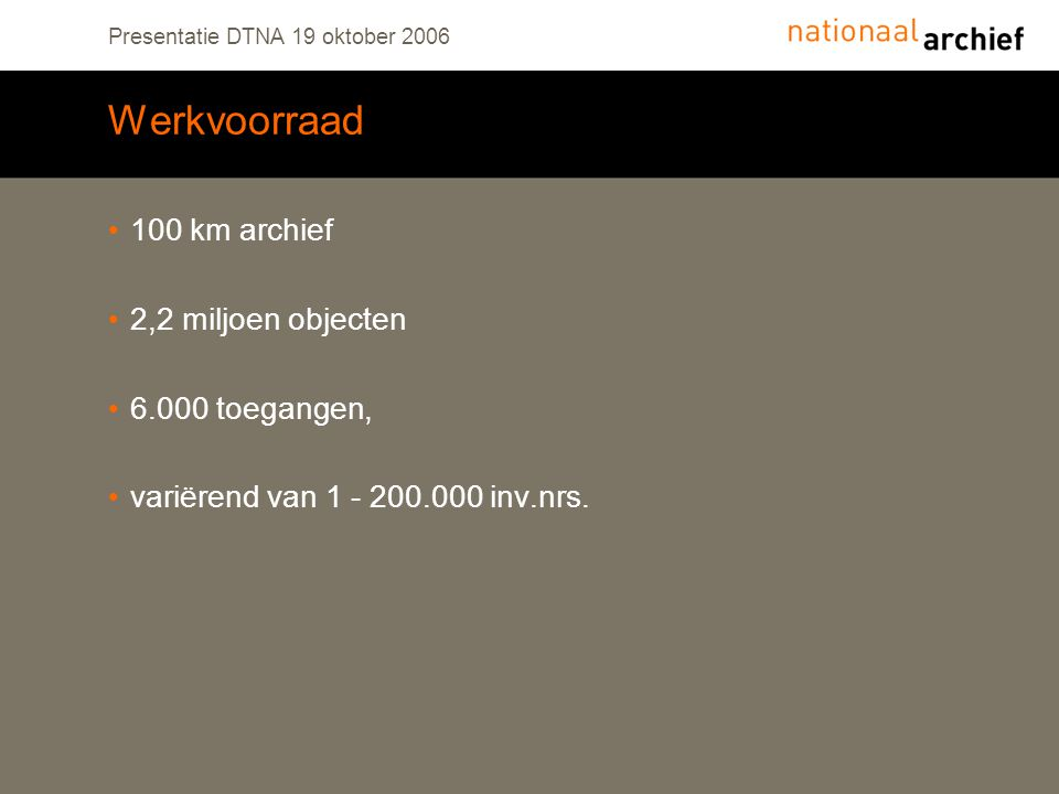 Presentatie DTNA 19 oktober 2006 Werkvoorraad 100 km archief 2,2 miljoen objecten 6.000 toegangen, variërend van 1 - 200.000 inv.nrs.