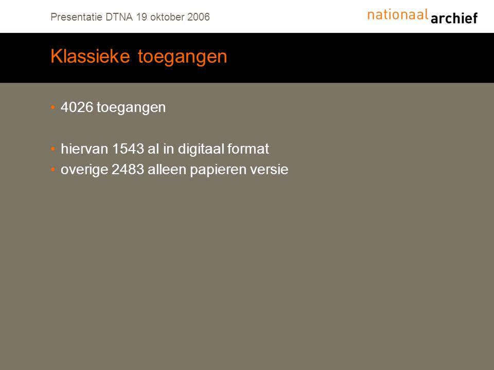 Presentatie DTNA 19 oktober 2006 Klassieke toegangen 4026 toegangen hiervan 1543 al in digitaal format overige 2483 alleen papieren versie