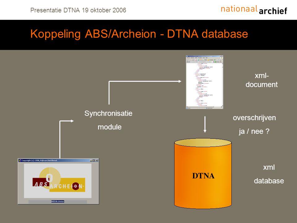 Presentatie DTNA 19 oktober 2006 Koppeling ABS/Archeion - DTNA database Synchronisatie module xml- document xml database overschrijven ja / nee