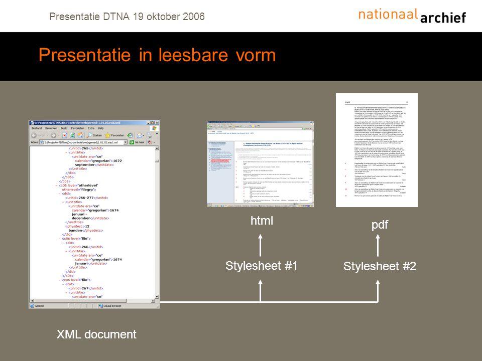 Presentatie DTNA 19 oktober 2006 Presentatie in leesbare vorm Stylesheet #1 Stylesheet #2 XML document html pdf