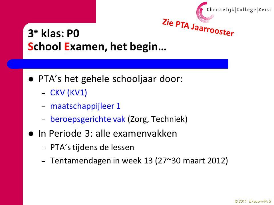 © 2011; Exacom/NvS 3 e klas: P0 School Examen, het begin… PTA's het gehele schooljaar door: – CKV (KV1) – maatschappijleer 1 – beroepsgerichte vak (Zo