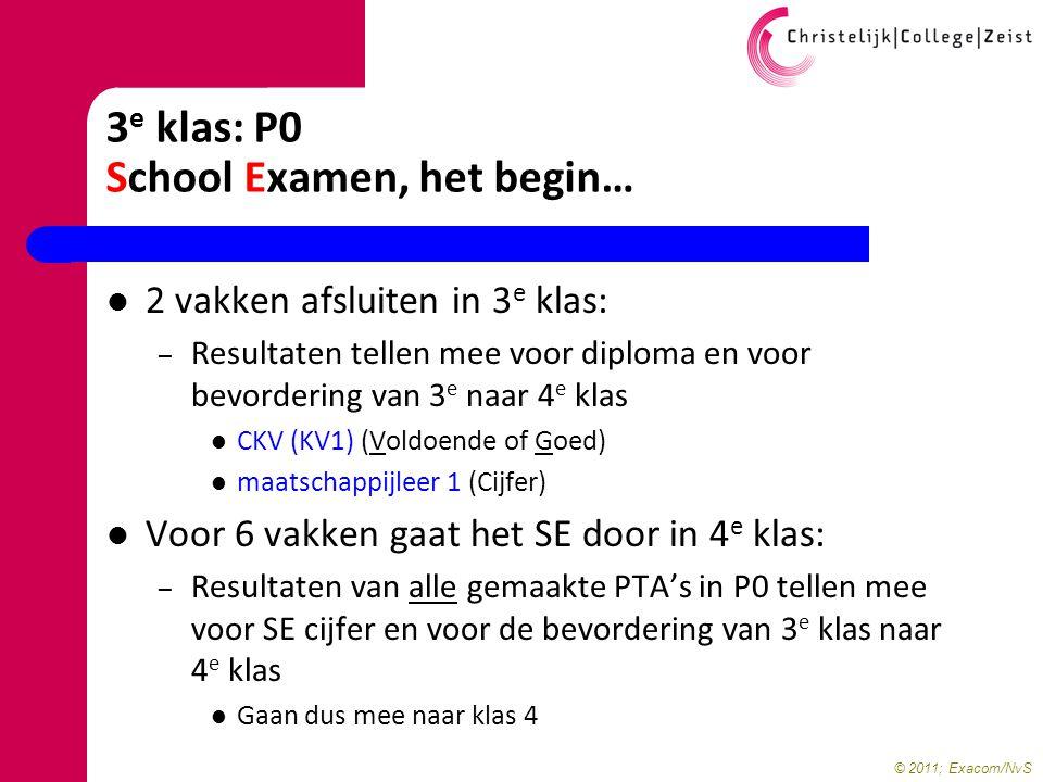 © 2011; Exacom/NvS 3 e klas: P0 School Examen, het begin… 2 vakken afsluiten in 3 e klas: – Resultaten tellen mee voor diploma en voor bevordering van